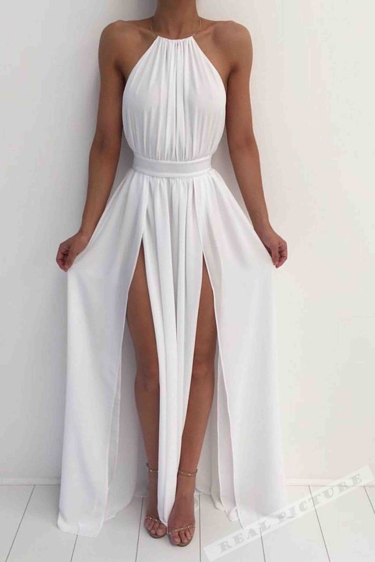 White chiffon prom dress, halter prom dress, cute long prom dress with slits