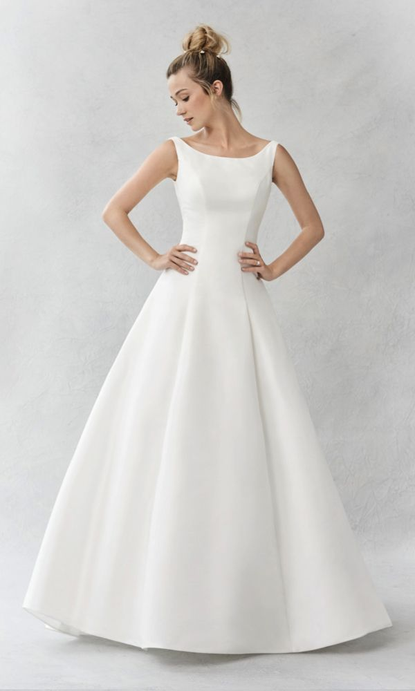 Style BE375, Ella Rosa A-line gown with full skirt and bateau neckline