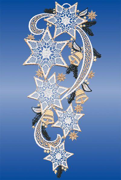 Plauener Spitze Fensterbilder zu Weihnachten