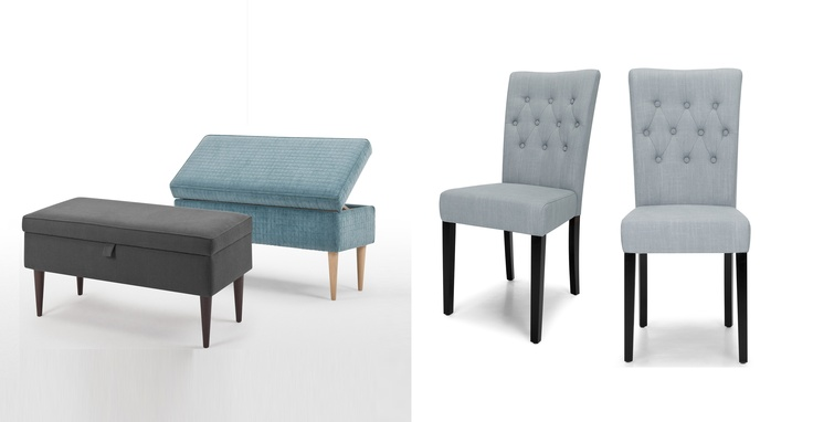 MADE.COM - Feb 27th - 'ETIENNE' Upholstered Storage Bench (Etienne Collection) - in azure blue or charcoal    and    2 x 'FLYNN' Dining Chairs (Flynn Collection) - in persian grey.    Also available in midnight black.