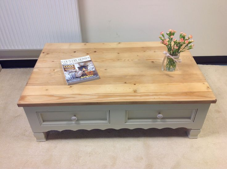 Solid wooden coffee table the top has been sanded back oiled and waxed and painted in FARROW AND BALL ARCHIVE