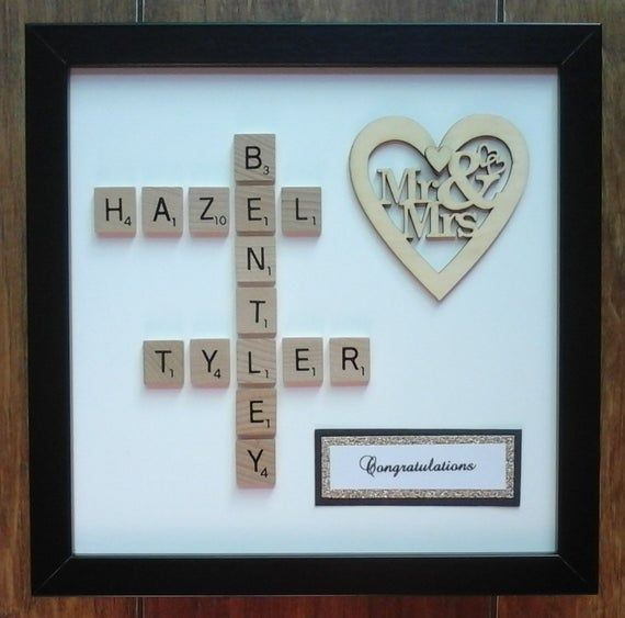 10x10 White Black Wooden Frame Plastic Wooden Scrabble Art Picture Wooden Mr Mrs Heart Personalised Wedding Anniversary Engagement In 2020 Scrabble Art Scrabble Tile Crafts Scrabble Frame