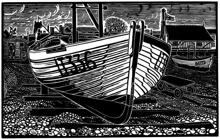 Aldeburgh Lobster Boat, linocut. James Dodd, Jardine Press.