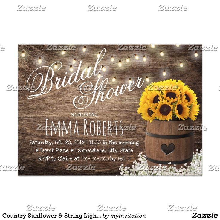 words to write in wedding shower card%0A Country Sunflower  u     String Lights Bridal Shower Card
