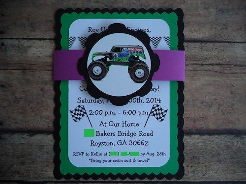Monster Truck Birthday Invitations, Grave Digger Invitations | Timberlysdesigns - Seasonal on ArtFire