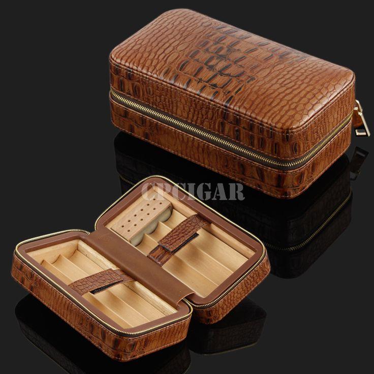 COHIBA Portable Brown Croco Embossed  Leather Cedar Lined Cigar Travel Case Mini Humidor Cigarette Storage Box w/ Humidifier