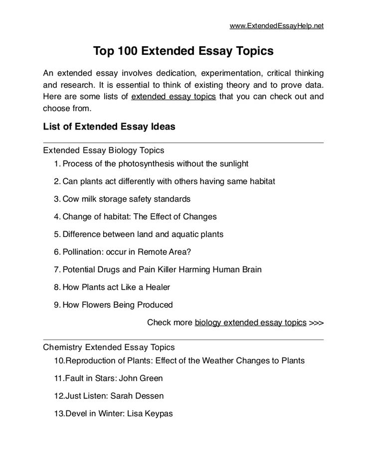 english extended essay topics list We are always happy to help you with an extended essay  there are your  ultimate topics for extended essays in english, history, mathematics, and other.
