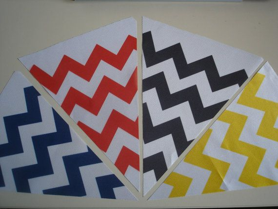Fabric Bunting Chevron Blue Red Black Yellow Combo by customflag, $19.00