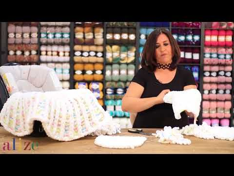 Alize Puffy Color ile Puset Battaniye - STROLLER BLANKET WITH ALİZE PUFFY COLOR - YouTube