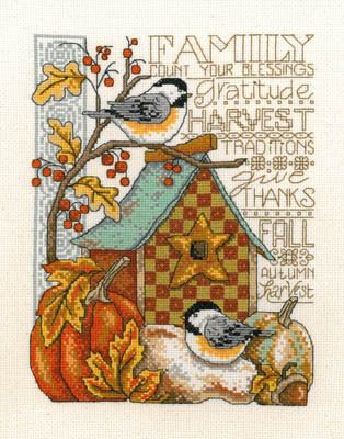 Imaginating Family Blessings - Cross Stitch Pattern. Family - count your blessings, gratitude, harvest traditions, give thanks, Fall, autumn, harvest. Model sti