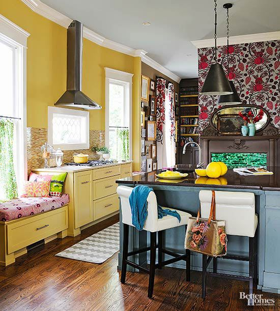 If you love bold and bright colors and mix and match patterns, this home makeover is for you! Homeowners transformed a quaint cottage home into a quirky and artist abode with lots of brights colors in every room, multiple gallery walls and a few rustic touches such as a farmhouse kitchen table. Use this as inspiration to add a few colorful touches to your home such as painted kitchen cabinets or a bright and yellow laundry room.