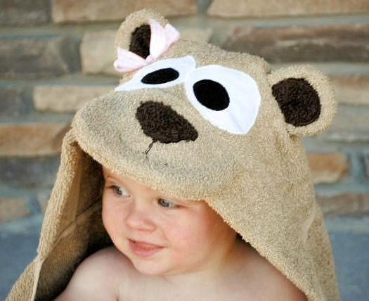Teddy Bear Hooded Bath Towel-Crazy Little Projects @Stephanie Close Holbus thought about you. The website has several other animals.