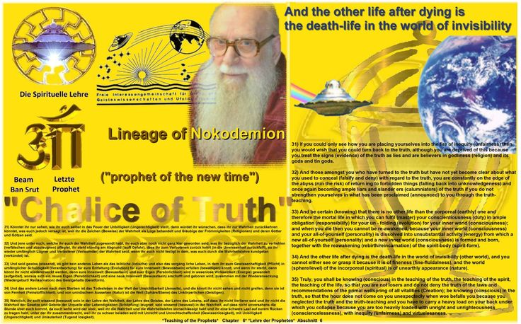 34) And the other life after dying is the death-life in the world of invisibility (other world), and you cannot either see or grasp it because it is of fineness (fine-fluidalness), and the world (sphere/level) of the incorporeal (spiritual) is of unearthly appearance (nature).  http://www.figu.org/ch/files/downloads/buecher/figu-kelch_der_wahrheit_goblet-of-the-truth_v_20150307.pdf