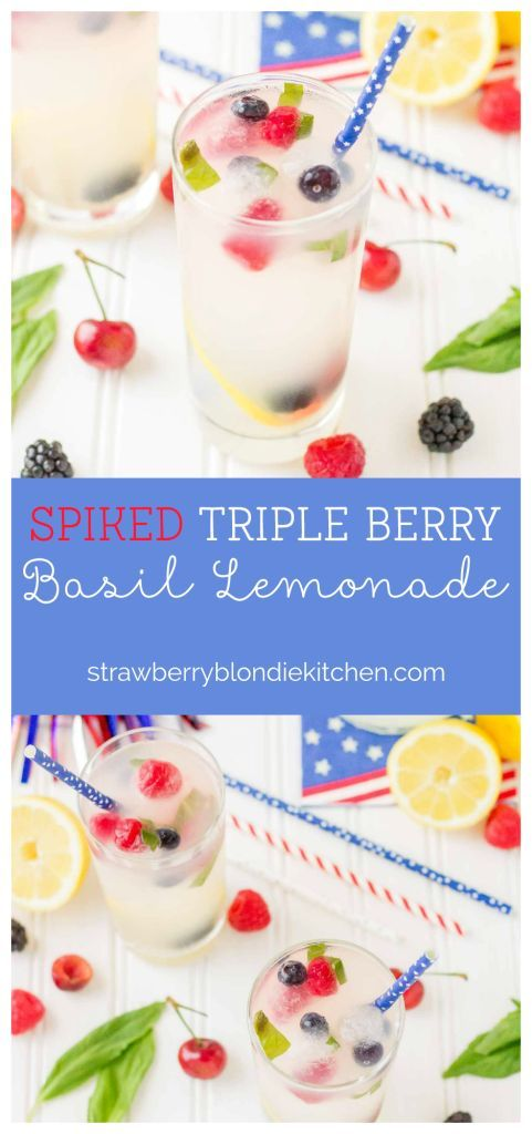 Refreshing and delicious, this Spiked Triple Berry Basil Lemonade is a perfect balance of sweet and tart. Smirnoff®️ Red, White and Berry vodka mixed with tart lemonade and fresh, sweet berries is the ultimate summertime cocktail!  | Strawberry Blondie Ki