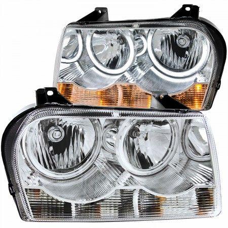 Anzo 121137 | 2006 Chrysler 300 Chrome/Clear CCFL Halo Crystal Headlights for Sedan