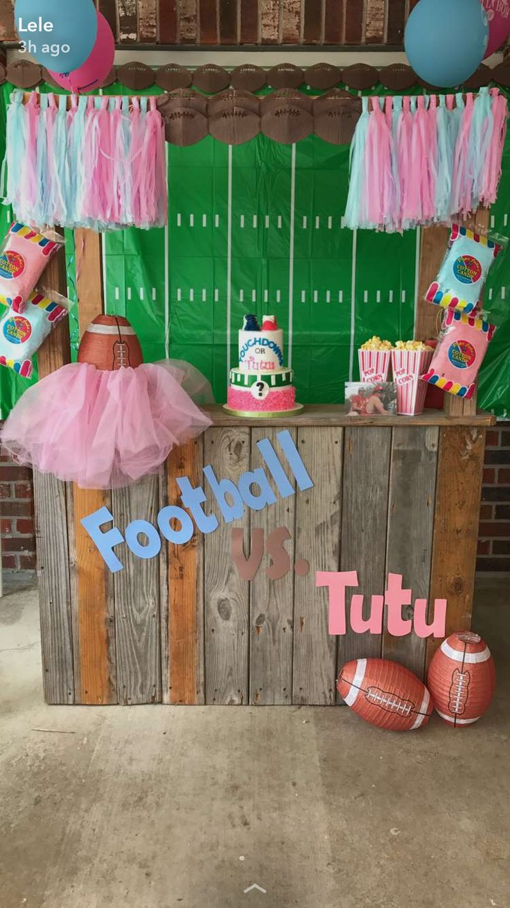 Football vs tutu gender reveal