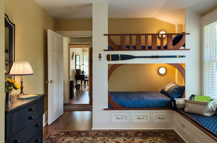 Craftsman Kids Bedroom with Window seat, Paint 1, double-hung window, Standard height, can lights, Hardwood floors, Bunk beds