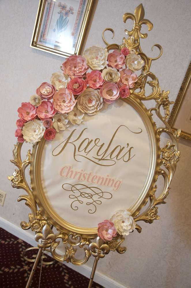 Welcome sign at a vintage romantic baptism  party! See more party planning ideas at CatchMyParty.com!