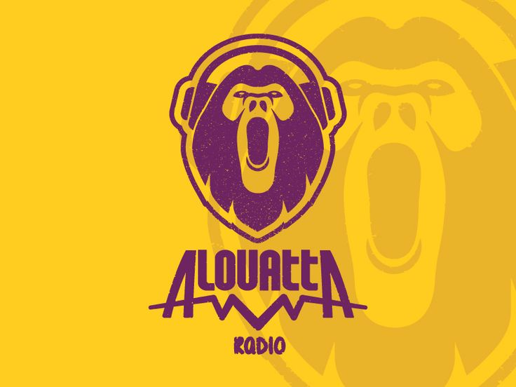 Alouatta Radio, logo for a online radio station, monkey logo