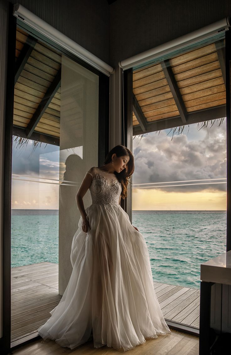 "Bride in Paolo Sebastian ""Swan Lake"" wedding gown | Maldives wedding {Facebook and Instagram: The Wedding Scoop}"