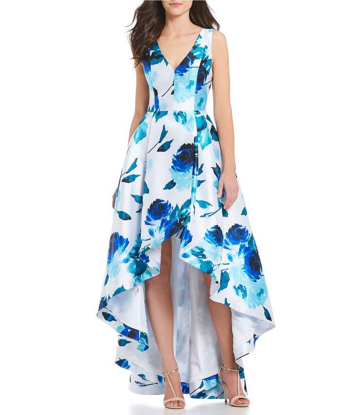 Calvin Klein VNeck Floral HiLow Gown #Dillards