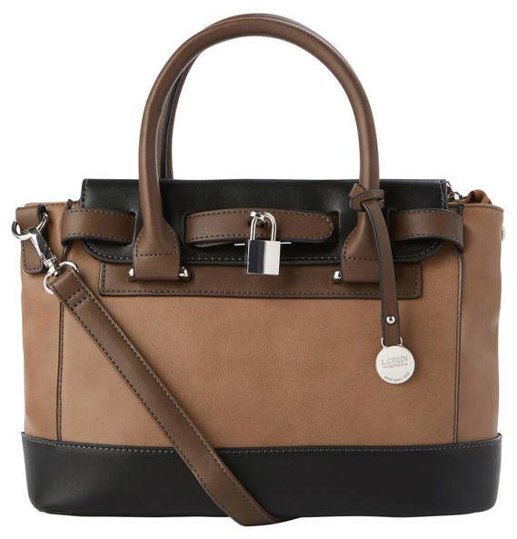 "L. CREDI Handbag ""Nathalie"", leather look, decorative belt taupe"