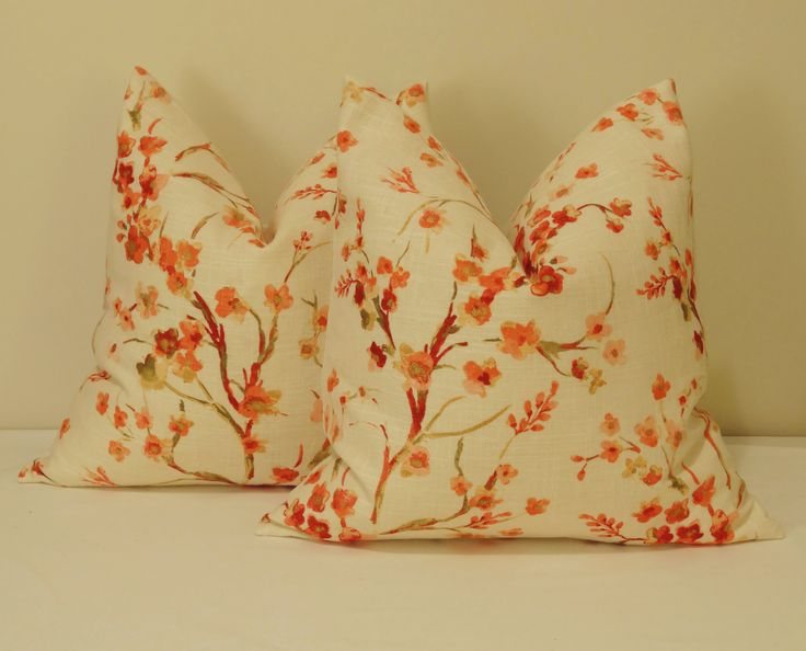 Slub linen rayon screenprint peach, pink and cream colors, backed in a soft and smooth cream linen-rayon blend that picks the cream background. Japanese blossom style. Peach pink cream blossoms floral cushion cover Decorative pillow linen rayon Japanese blossoms tropical accent throw posies