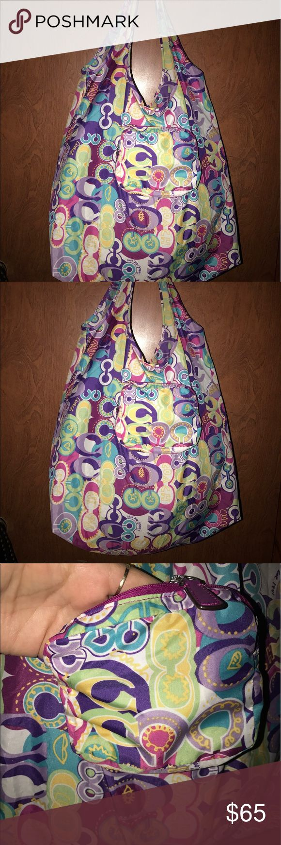"""Authentic Coach Poppy """"POP C"""" multipurpose bag XL Authentic Coach Poppy """"POP C"""" nylon washable foldable tote/shopper/overnight MULTIPURPOSE bag. Folds up for minimal storage. Coach Bags Totes"""