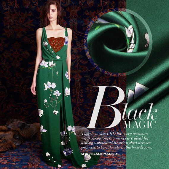 Elegante+groene+zijde+stof+mode+stoffen+bloemen+door+AshleyFabric