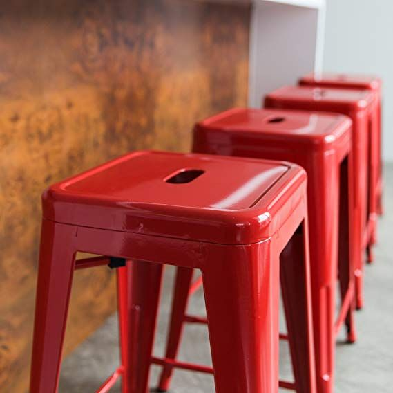Urbanmod 24 Inch Bar Stools For Kitchen Counter Height Indoor Outdoor Metal Set Of 4 Red Lover Industrial Style Interiores Interiores Design