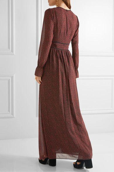 MICHAEL Michael Kors - Cole Printed Chiffon Maxi Dress - Red