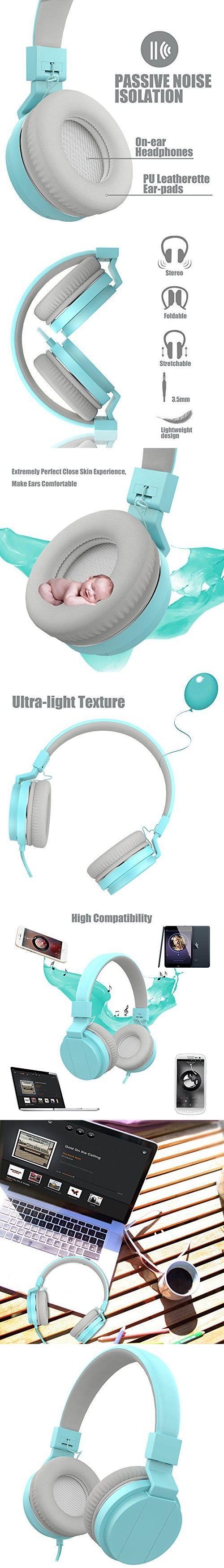 On Ear Headphones, Vomercy Kids Headphones for School Wired Headphones Lightweight Headphones Music Foldable Headphones Blue Headphones with Mic