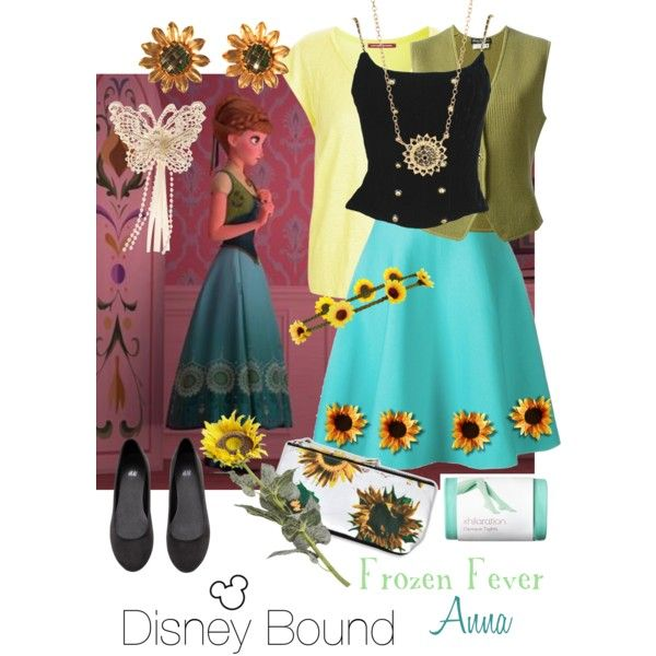 Disney Bound: Frozen Fever Anna by girlinthemask421 on Polyvore featuring Chanel, Comptoir Des Cotonniers, Le Ciel Bleu, H&M, Alice Joseph Vintage, Jamie Wolf, Monsoon, Accessorize, Motel and Pier 1 Imports