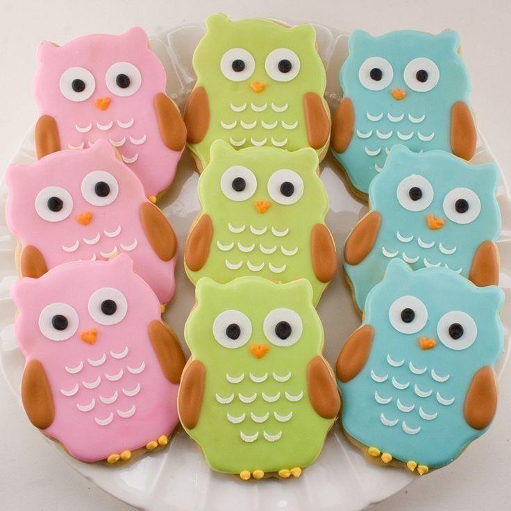 Owl cookies. so cute! @Shayne Fischer: Birthday, Owlcookies, Owl Cookies, Food, Party Ideas, Owls, Sugar Cookie, Baby Shower