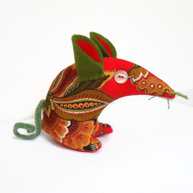 LAST MINUTE Christmas GIFT RED Vintage fabric Mouse