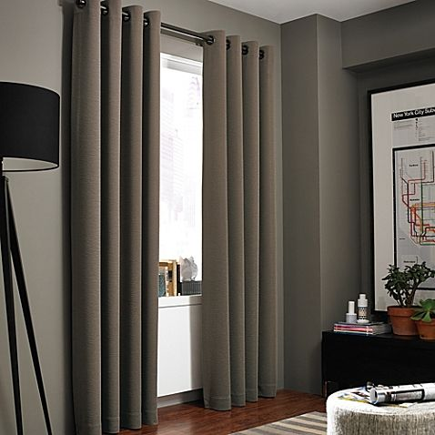 The sleek Kenneth Cole Reaction Home Gotham Texture Lined Grommet Window Curtain Panel features a subtle, horizontal texture that brings a sophisticated look to any room. Panel has a 100% cotton lining to help darken rooms and provide additional privacy.