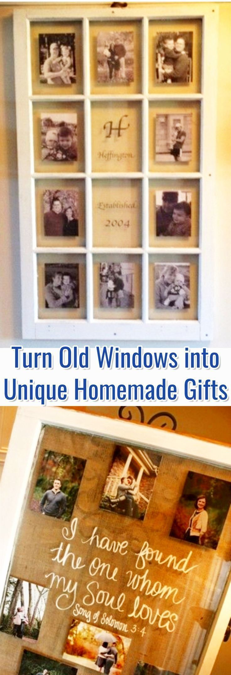 Turn Old Windows into Unique Homemade Gifts - Beautiful old window crafts for unique homemade gift ideas.  Love this idea to repurpose and upcycle old window frames into pictures and DIY wall decorations #HomemadeHouseDecorations,