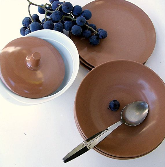 Vintage Melamine Dishes Brown Bowls Plates and Sugar