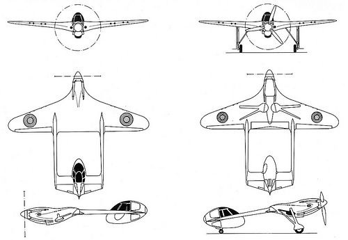British fighter prototype: Airspeed AS 31. Six-view