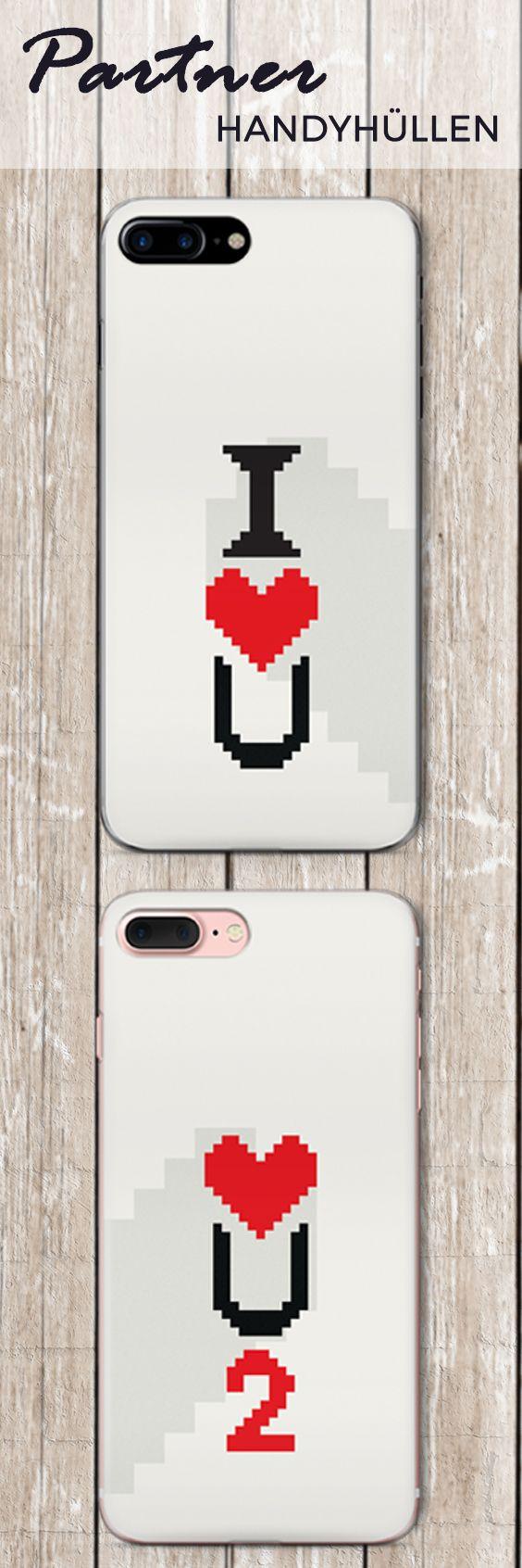 Partner Liebes Handyhüllen - Design: I love you - love u 2 / Gaming Liebe Pärchen