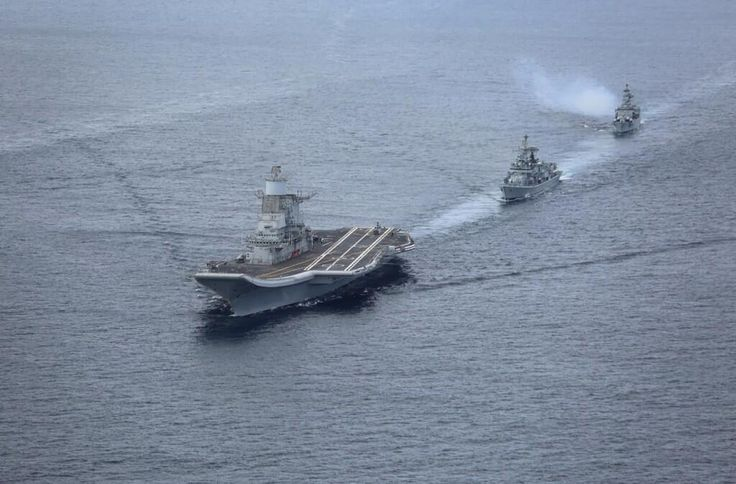 Refurbished Russian carrier for Indian Navy INS Vikramaditya en route to new base at Karwar. Arrived 08/01/2014.