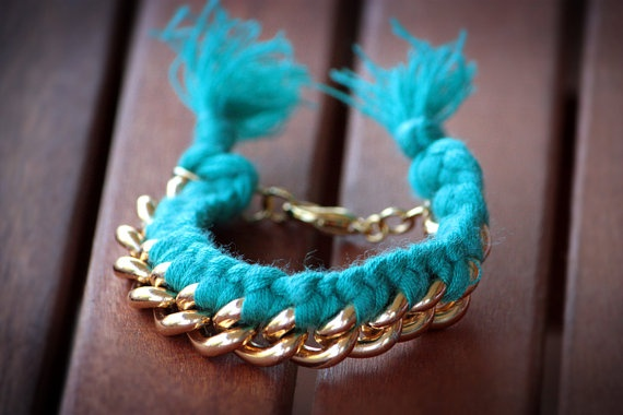 Gold plated chain with cotton cord by chrikou on Etsy, €12.00