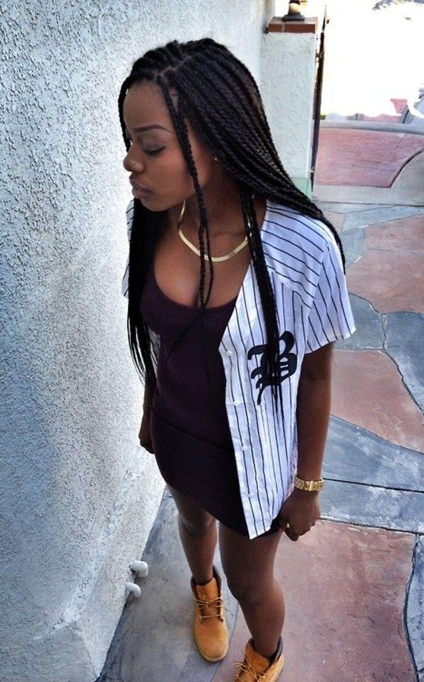 Box Braids Timberlands Baseball Jersey Black Dress