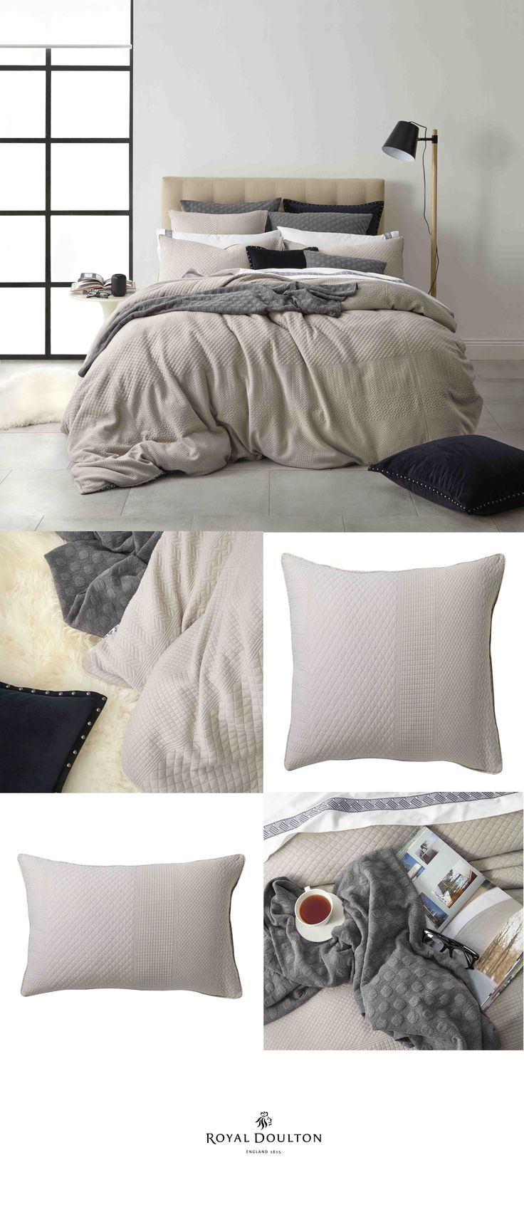Royal Doulton - Adler Linen Quilt Cover Set ft. Habitat Concrete Throw - Bed Linen #linen #decor