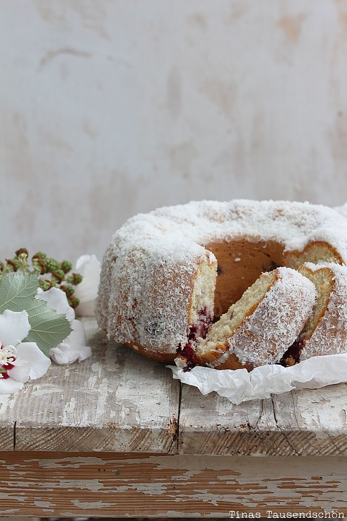 Marmorkuchen recipe…Cake with Blackberries and Shredded Coconut (try with Raspberries).