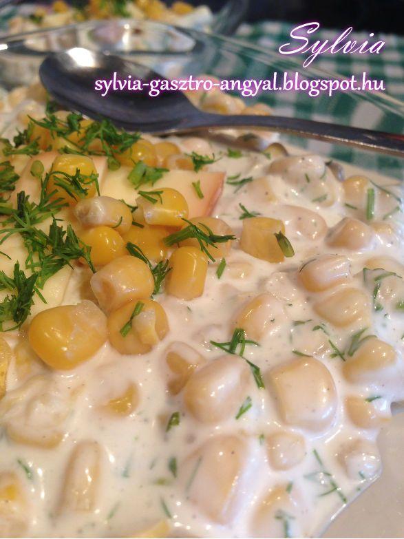 Sylvia Gasztro Angyal: Majonézes kapros füstölt sajtos kukorica saláta