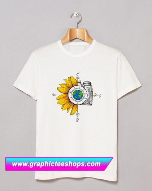 5e619c3601f1 Wanderlust Sunflower Camera T Shirt (GPMU)   T Shirt   Shirts, T ...