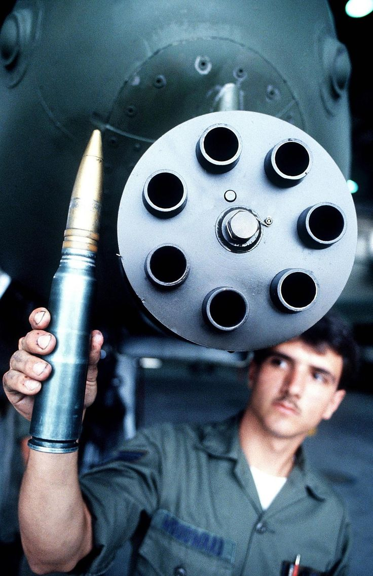 "The 30mm armor-penetrating ammunition fired at up to 4,200 rounds per minute by the nose-mounted, rotating Gatling cannon on the A-10 Thunderbolt II ""Warthog"""