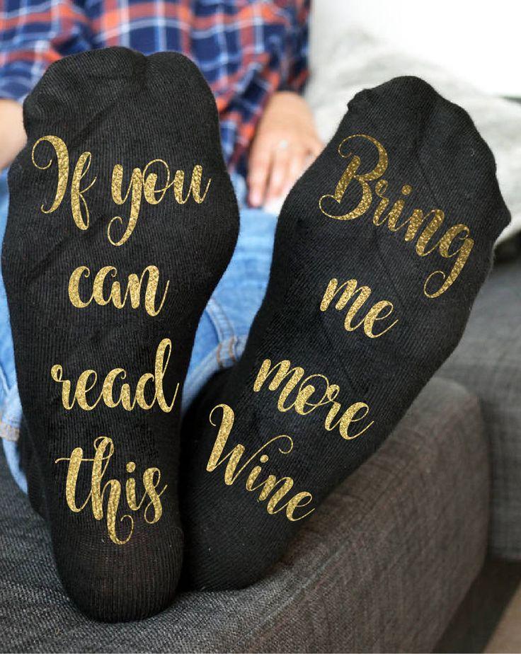 Wine socks Custom socks If you can read this bring me more wine gold Socks  | eBay