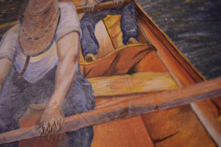 """Esta obra originalmente se llama """"Remeros en el Yerres"""" del gran pintor francés gustave caillebotte . Fue el resultado de 4 días en jornadas de 3 a 5 horas para exponerlo como trabajo final en el """"TALLER DE EXPRESIÓN GRÁFICA I"""" en la UNIVERSIDAD DEL NORTE, Barranquilla - Colombia."""